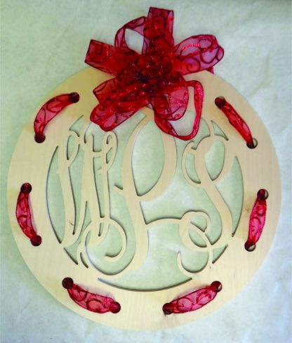 Wooden Monogram with Holes for Ribbon